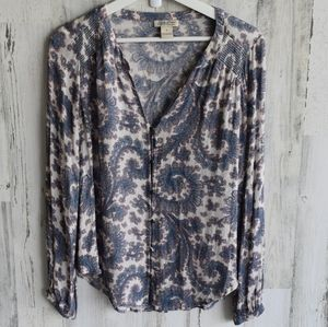 Lucky Brand blue pink off white paisley button top